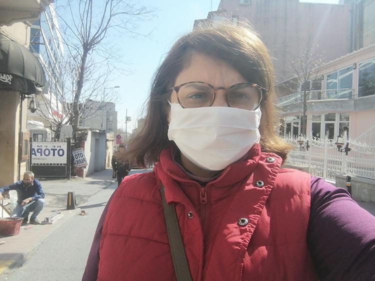 Journalist Evrim Kepenek is seen while covering COVID-19 in Istanbul, Turkey. (Evrim Kepenek)