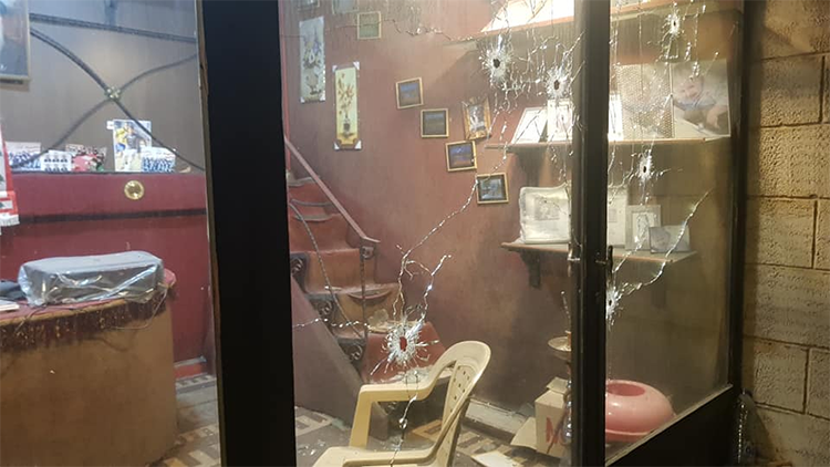 The office of Lebanese journalist Shuaib Zakaria is seen after being shot 30 times by unidentified attackers on March 19, 2020. (Shuaib Zakaria)