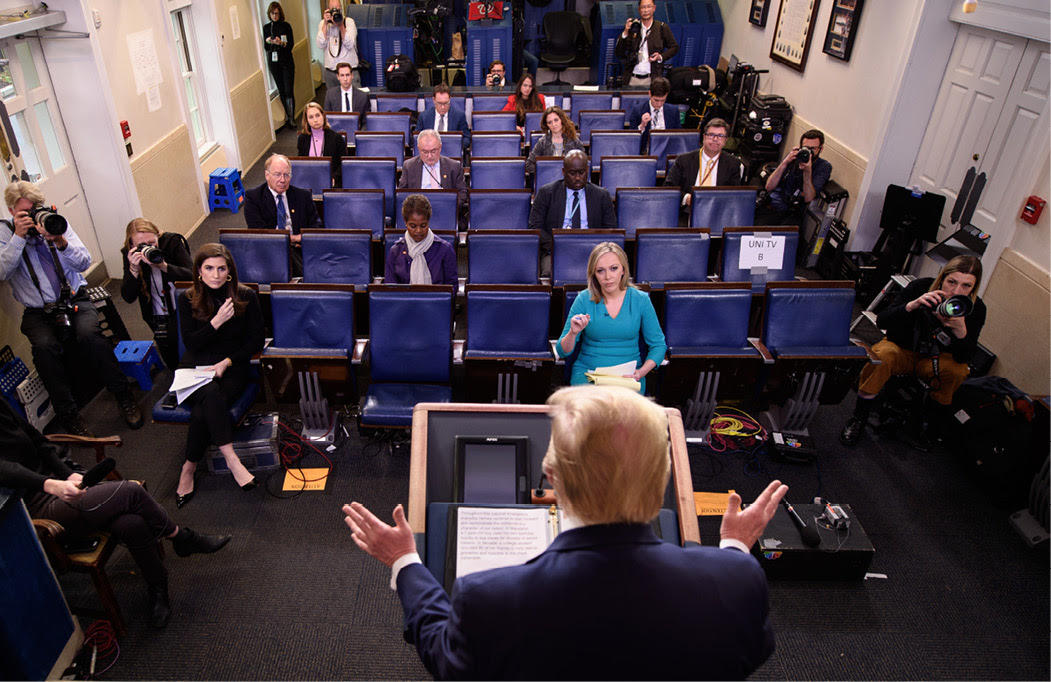 """Trump speaking during the daily briefing on the novel coronavirus, COVID-19, at the White House. Trump has called journalists """"very dishonest"""" for their reporting on the health crisis. (AFP/Mandel Ngan)"""