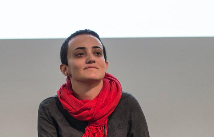 In this Nov. 24, 2017 photo, Lina Attalah, editor-in-chief of Mada Masr, a prominent investigative media outlet in Egypt, participates in a panel discussion at cultural center in Cairo, Egypt. Mada Masr said editor Lina Attalah was arrested Sunday, May 17, 2020, outside Cairo's Tora prison complex. She was there to interview the mother of a prominent jailed activist, Alaa Abdelfattah. It's the latest arrest amid a wider crackdown on dissent. (AP/Roger Anis)