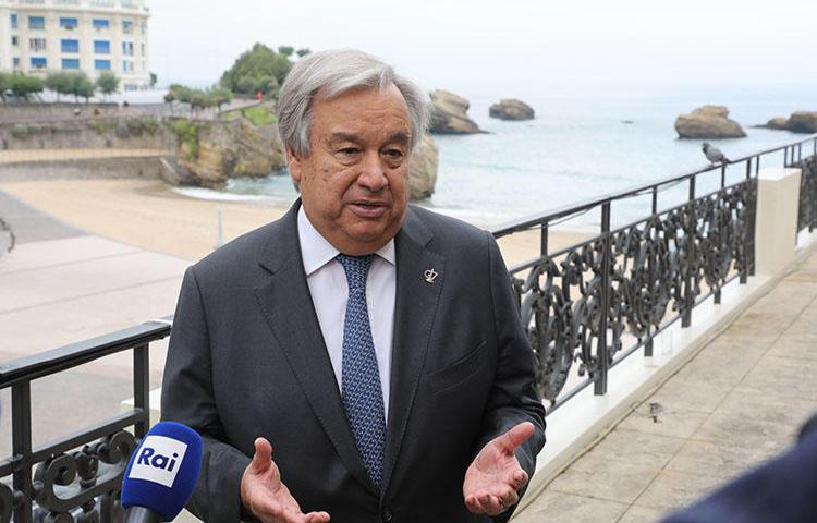 UN Secretary General Antonio Guterres speaks to the press in Biarritz, France, on August 26, 2019, during the annual G7 Summit. (AFP/Ludovic Marin)