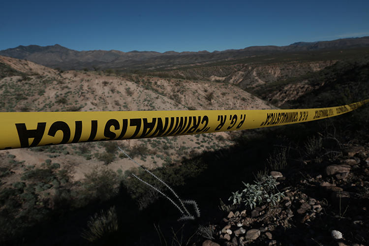 Police tape is seen near Bavispe, Sonora state, Mexico, on January 11, 2020. Journalist Jorge Miguel Armenta Ávalos was recently killed in Sonora state. (AP/Christian Chavez)