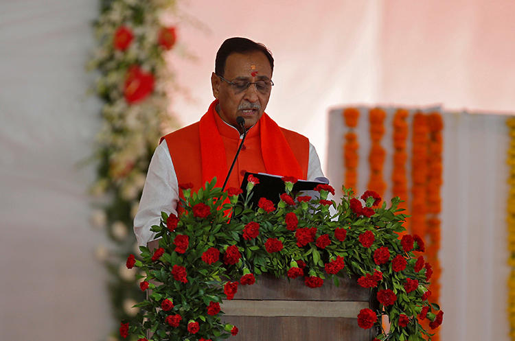 Gujarat Chief Minister Vijay Rupani is seen in Gandhinagar, India, on December 26, 2017. Journalist Dhaval Patel was recently arrested and charged over his coverage of Rupani. (Reuters/Amit Dave)