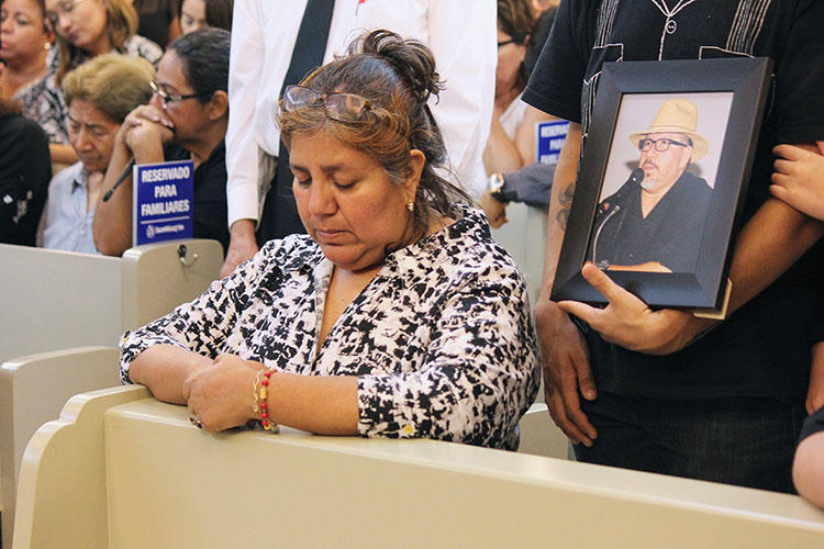 Griselda Triana, the wife of slain journalist Javier Valdez, attends his memorial service at a funeral parlor in Culiacan, In Sinaloa state, Mexico, on May 16, 2017. Triana wrote a letter calling for justice in his case on May 15, 2020, the third anniversary of his murder. (Reuters/Jesus Bustamante)
